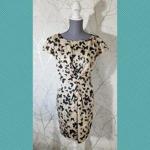 Yumi Beige Butterfly Print Pleated Sheath Dress